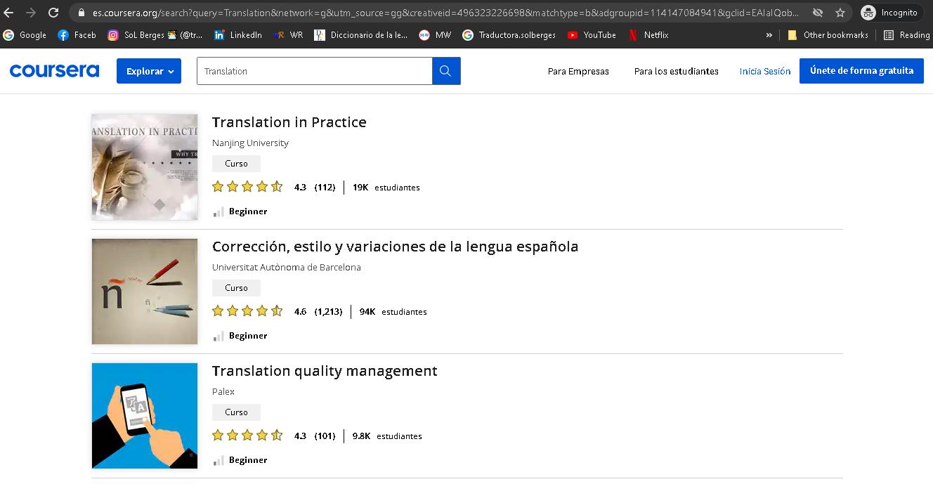 Algunos cursos de Coursera