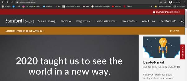 Página principal de Stanford Online