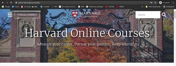 Página principal de Harvard Online
